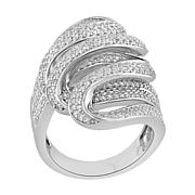 Absolute™ Sterling Silver Cubic Zirconia Pavé Swirl Ring