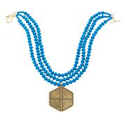 """Akola """"Coveted Collar"""" Paper Bead 3-Row  Drop Necklace"""