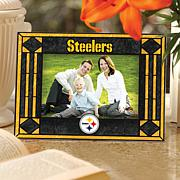 Art Glass Horizontal Picture Frame - Steelers