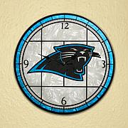 Art Glass Wall Clock - Carolina Panthers