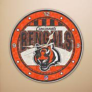 Art Glass Wall Clock - Cincinnati Bengals