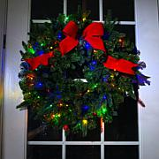"""As Is"" American Tree & Wreath 26"" Color-Changing Wreath with Remot..."