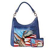 """""""As Is"""" Anuschka Hand-Painted Leather Hobo with Coin Pouch"""