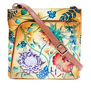 """As Is"" Anuschka Hand Painted Leather Organizer Crossbody"