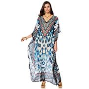 Asa Kaftans Animal Print Sheer Long Caftan