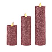 August & Leo Set of 3 Glitter Moving Flame Candles