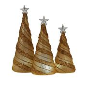 august & leo Set of 3 Swirl Beaded Christmas Trees with 6-Hour Timers