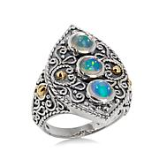 Bali Designs Ethiopian Opal 3-Stone 2-Tone Ring
