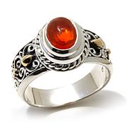 Bali Designs Fiery Orange Ethiopian Opal 2-Tone Ring