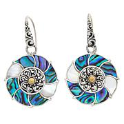 Bali RoManse Abalone and Mother-of-Pearl Flower Drop Earrings