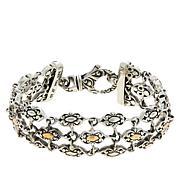 Bali RoManse Sterling Silver 3-Row Scrollwork Station Bracelet