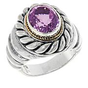 Bali RoManse Sterling Silver and 18K Kunzite Cable Ring
