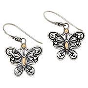 Bali RoManse Sterling Silver and 18K Scrollwork Butterfly Earrings