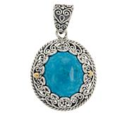 Bali RoManse Sterling Silver Oval Turquoise Scrollwork Pendant