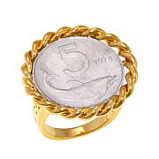 Bellezza 5 Lira Coin Bronze Rope Frame Ring