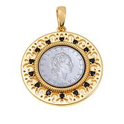 Bellezza 50 Lira Coin Black Spinel Bronze Cutout Pendant