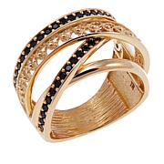 Bellezza .59ctw Black Spinel Bronze Multi-Row Crossover Ring