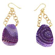 Bellezza Purple Agate Bronze Chain-Link Dangle Earrings