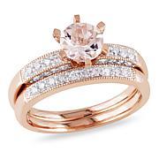 Bellini 10K Rose Gold Morganite and White Diamond 2-piece Ring Set