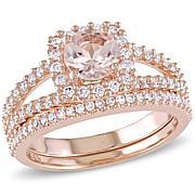 Bellini 1.33ctw Pink Morganite and Diamond Bridal Ring Set