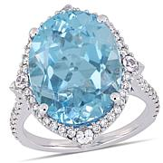 Bellini 14K White Gold Diamond, Sky Blue Topaz and White Sapphire
