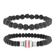 Ben Sherman Men's Black Beaded Bracelet 2-piece Set