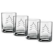 Beverage Glass with Etched Holiday Tree - Set of 4