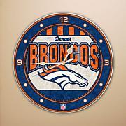 Broncos Art Glass Wall Clock
