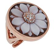Cameo Italiano Hand Carved Cameo and CZ Flower Ring