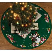 "Candy Snowman Tree Skirt Felt Applique Kit - 43"" Round"
