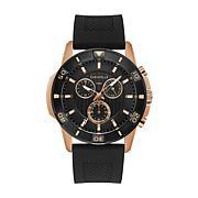 Caravelle by Bulova Men's Rosetone Chronograph Silicone Strap Watch