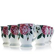 Carleton Varney Set of 6 Fine Bone China Rose Mug Collection
