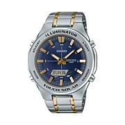Casio Men's Solar Multi-Function Stainless Steel Watch, Blue Dial