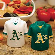 Ceramic Salt and Pepper Shakers - Oakland Athletics