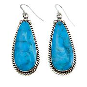 Chaco Canyon Pear Kingman Turquoise Rope Frame Drop Earrings
