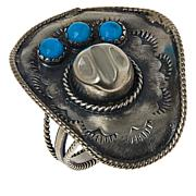 Chaco Canyon Sterling Silver Sleeping Beauty Turquoise Cowboy Hat Ring