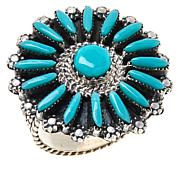 Chaco Canyon Sterling Silver Zuni Kingman Turquoise Needlepoint Ring