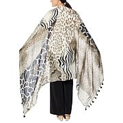 Clever Carriage African Safari Silk Scarf with Tassels