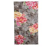 Clever Carriage St. Tropez Leopard and Rose Print Silk Scarf