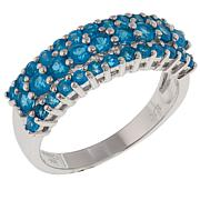 Colleen Lopez 0.98ctw Neon Blue Apatite 3-Row Band Ring