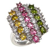Colleen Lopez 4.76ctw Multi Tourmaline and White Zircon Ring