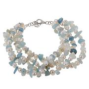 Colleen Lopez Cultured Pearl and Aquamarine 4-Strand Bracelet