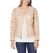 Colleen Lopez Faux Leather and Mesh Tiger Jacket