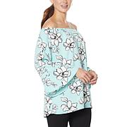 Colleen Lopez Off-the-Shoulder Flutter-Sleeve Print Top