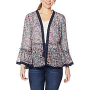 Colleen Lopez Semi-Sheer Woven Topper with Crochet Trim