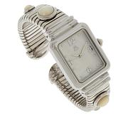 Colleen Lopez Stainless Steel Gemstone Dial Tubogas Cuff Watch