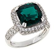 Colleen Lopez Sterling Silver Created Emerald and White Zircon Ring