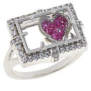 Colleen Lopez Sterling Silver Sapphire Floating Charm Ring