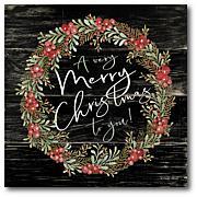 "Courtside Market A Very Merry Christmas Wreath 14"" x 14"" Wood Art"