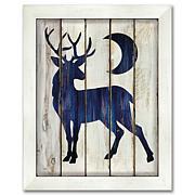 "Courtside Market Buck and Moon 10.5"" x 14"" Wood Art - Navy Blue"